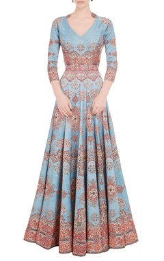 Falguni Shane Peacock Powder blue & red carpet printed gown