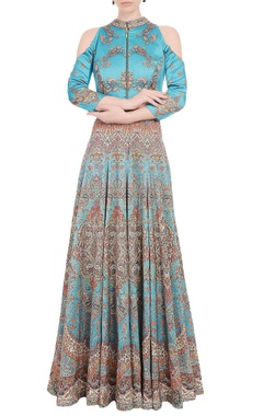 Falguni Shane Peacock Tiffany blue anarkali gown with carpet print