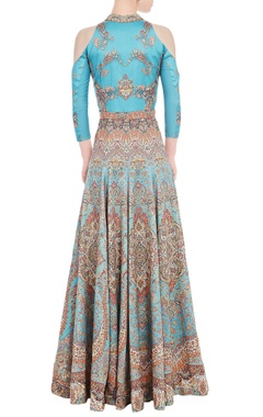 Tiffany blue anarkali gown with carpet print
