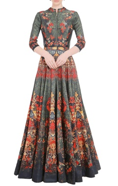 Falguni Shane Peacock Seaweed green anarkali gown with floral print