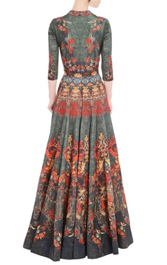 Seaweed green anarkali gown with floral print