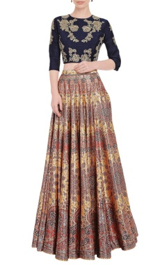 Falguni Shane Peacock Multi colored printed skirt set