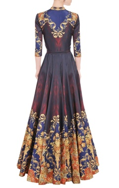 Maroon & mustard yellow printed anarkali  gown