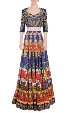 Falguni Shane Peacock Multi colored printed skirt set with violet blue top