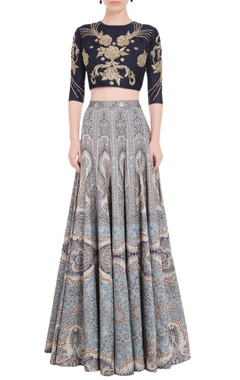Falguni Shane Peacock Multi colored printed lehenga set with embroidered blouse