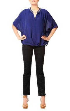 navy blue draped top