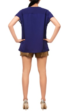 Navy blue embellished top with shorts