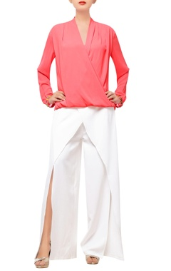 Coral pink wrap top