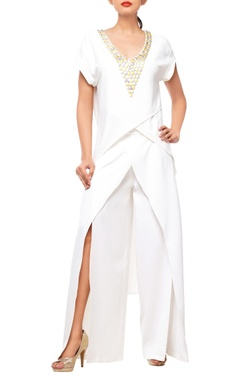 White pant set with embellishments