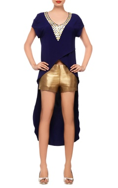 Navy blue asymmetrical top with shorts
