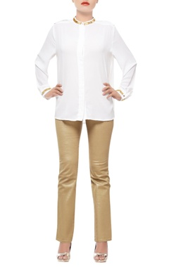 White shirt with embellished collar