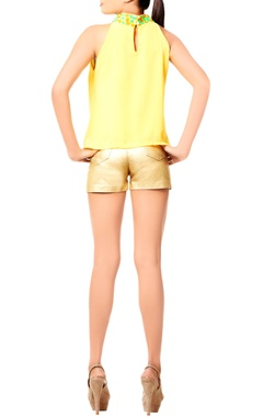 Yellow top with embellished neckline