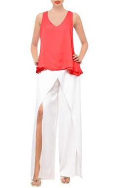 Coral red layered top