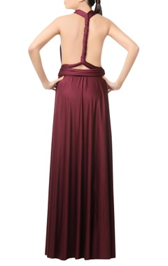 wine gown with twisted back detail