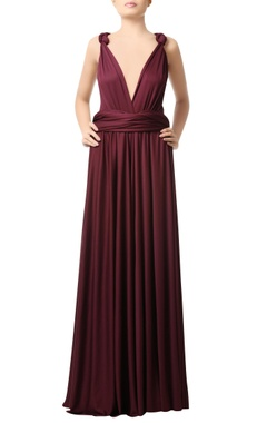 Wine deep neck gown