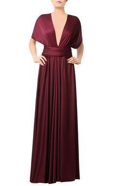 Wine gown with criss cross back