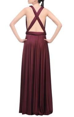 wine cross back gown
