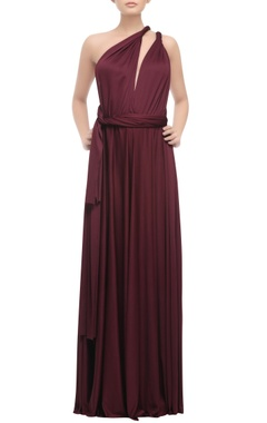 wine one shoulder open back gown