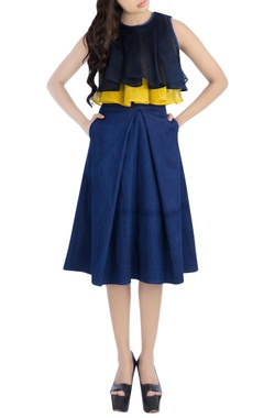 Navy blue & yellow top with midi skirt