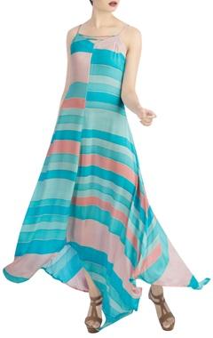 Blue, pink & peach maxi dress