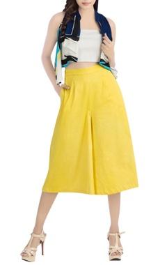 Multi-colored shrug & yellow culottes