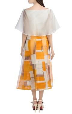 White flared top & orange skirt