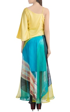 Yellow off-shoulder top with asymmetric skirt