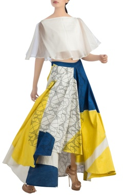 White flared top & multi-colored block print skirt