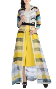 White striped jacket with yellow culottes