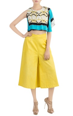 Multi colored crop top & yellow pants