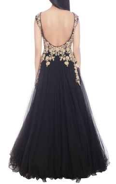 Black gown with gold embellishment