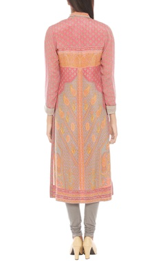 Pink & grey kurta with attached dupatta