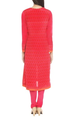 pink & orange printed kurta set