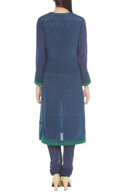 blue & turquoise printed kurta set