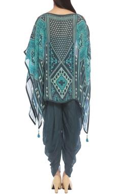 Indigo & turquoise printed top with draped pants