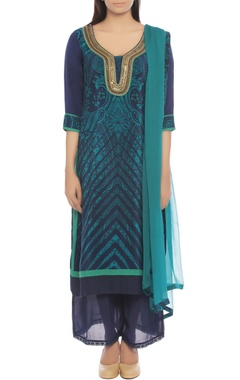 indigo & blue kurta set with paisley print