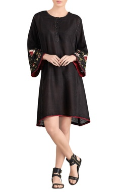 Black short dress with embroidered sleeves