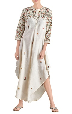 Ivory asymmetric embroidered dress