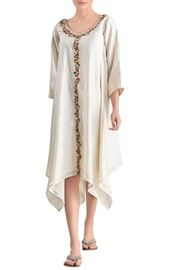 Ivory embroidered asymmetric dress