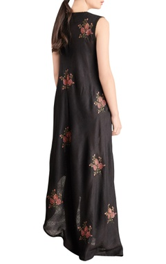 Black asymmetric embroidered maxi dress