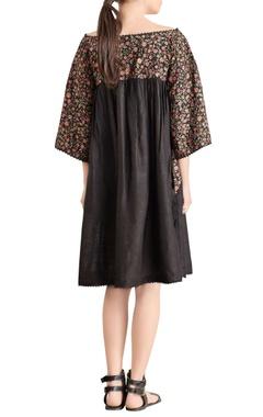 Black embroidered boat neck dress