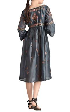 Dark grey embroidered midi dress