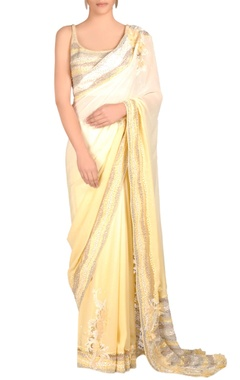 ivory & lemon yellow shaded sari