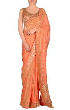 Peach sari with jaal embroidery