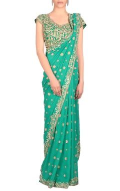 Green sari & blouse with embroidery
