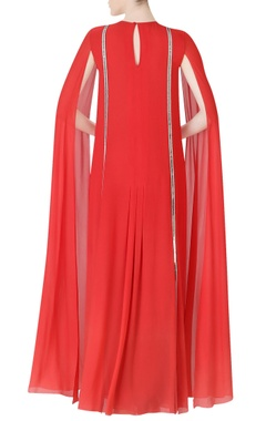 crimson maxi with dramatic sleeves