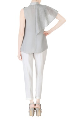 grey shirt with fabric detailing