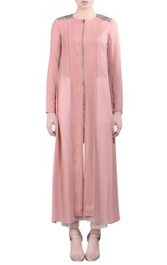 pink embellished long kurti