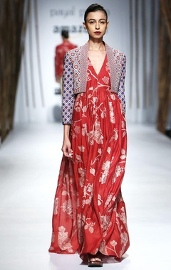 Red dress with beige embroidery