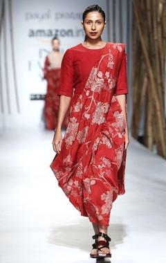 Red & beige embroidered sari